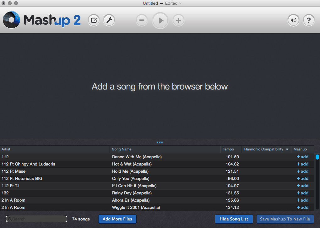 Select MP3 files to mashup